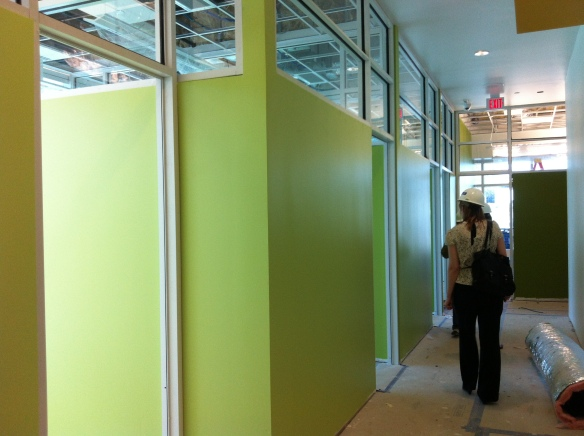 This lime green pops in the corridor leading to student government offices on the first level. Same color is carried through at the front desk (below).
