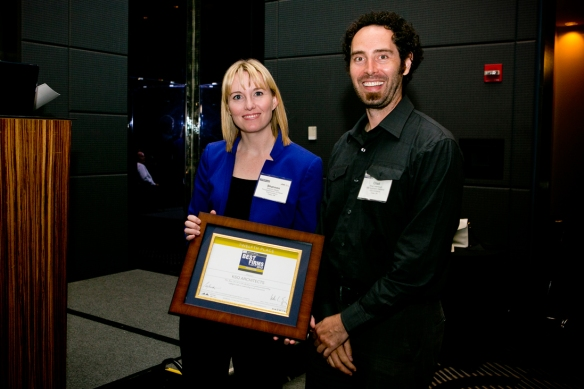 Chad and Shannon are all grins when accepting our award as one of Zweig White's Best Firms to Work For 2013.