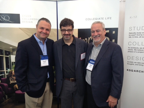 KSQ Principals Armand Quadrini (left) and David Short (right) man the booth at SCUP while visiting with our frequent collaborator and university planner Tom Hier of Biddison Hier.