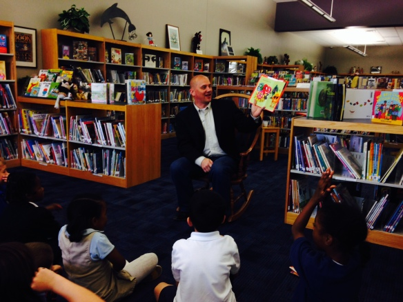 Doug K reading at Eisenhower on Earth Day