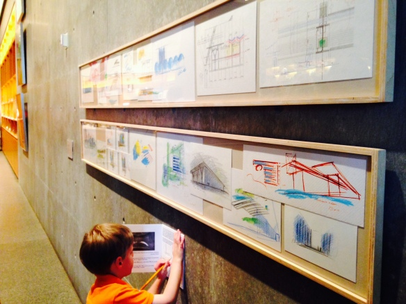 Oscar tries his hand at museum design–Mr. Ando, meet your summer intern circa. 2028. The kid loved everything about this place.
